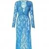 Голубое платье, в талии на резинке (64-74)