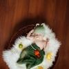 Шапочка лягушонка на 2-3 месяца, зеленая марлечка
